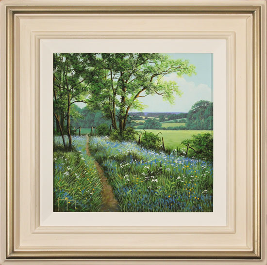 Terry Grundy, Original oil painting on panel, Bluebell Walk