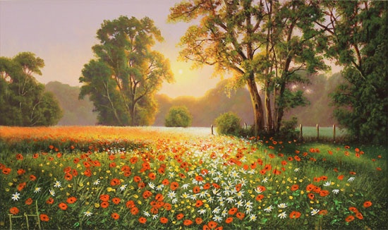 Terry Grundy, Original oil painting on panel, Poppy Field at Sunset Without frame image. Click to enlarge