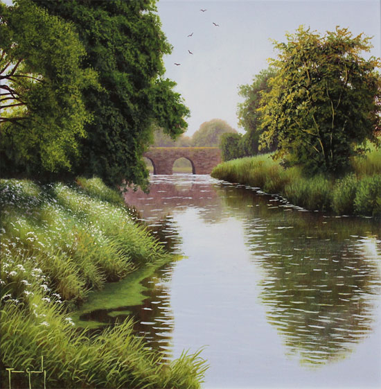 Terry Grundy, Original oil painting on panel, Summer by the River No frame image. Click to enlarge
