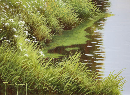 Terry Grundy, Original oil painting on panel, Summer by the River Signature image. Click to enlarge