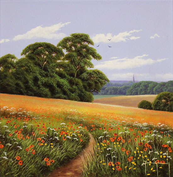 Terry Grundy, Original oil painting on panel, Poppy Fields Without frame image. Click to enlarge