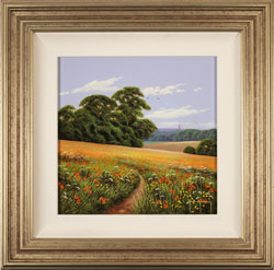 Terry Grundy, Original oil painting on panel, Poppy Fields