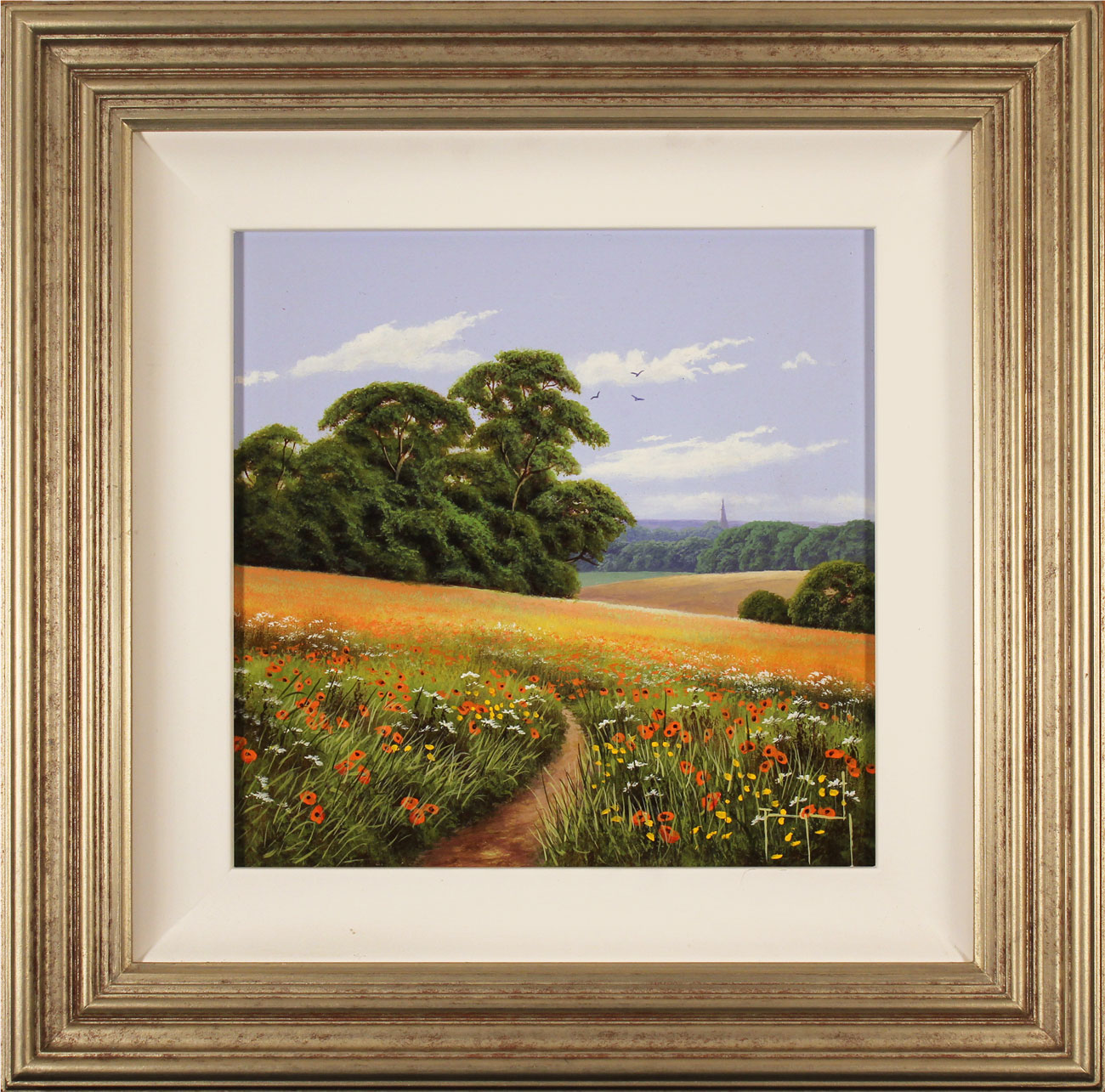 Terry Grundy, Original oil painting on panel, Poppy Fields. Click to enlarge