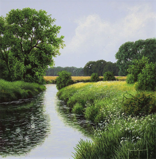 Terry Grundy, Original oil painting on panel, The River Wharfe Without frame image. Click to enlarge