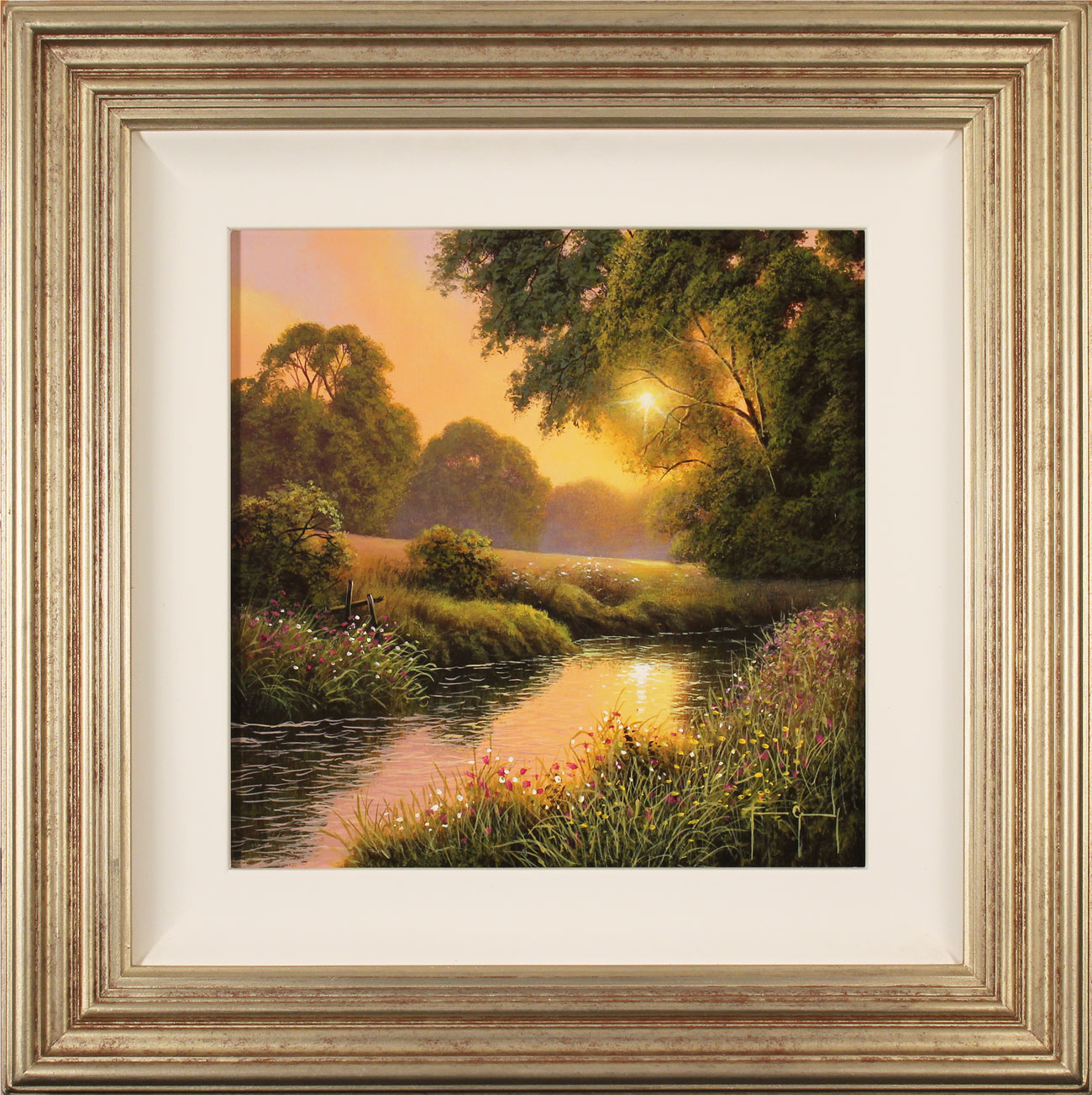 Terry Grundy, Original oil painting on panel, Summer Sunset, click to enlarge