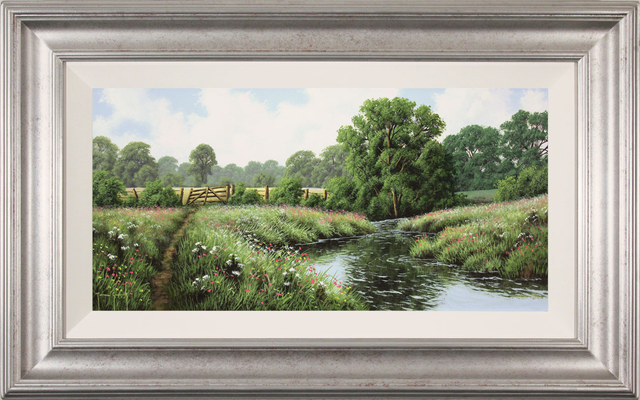 Terry Grundy, Original oil painting on panel, Midsummer by the River, click to enlarge