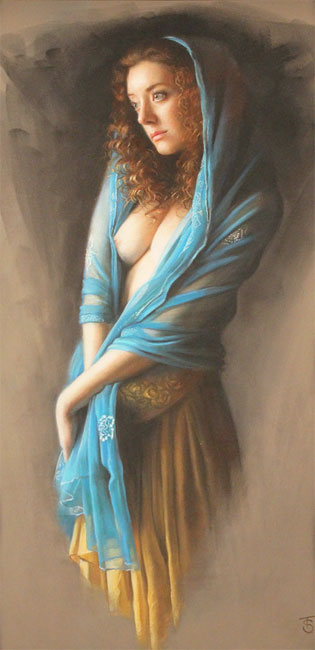 Tina Spratt, Pastel, Blue Shawl Without frame image. Click to enlarge