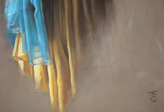 Tina Spratt, Pastel, Blue Shawl Signature image. Click to enlarge