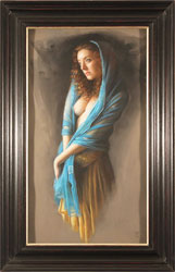 Tina Spratt, Pastel, Blue Shawl Large image. Click to enlarge
