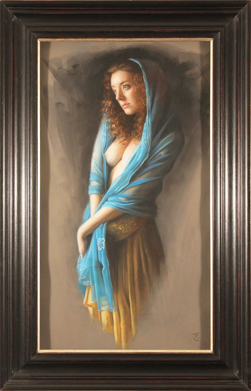 Tina Spratt, Pastel, Blue Shawl. Click to enlarge
