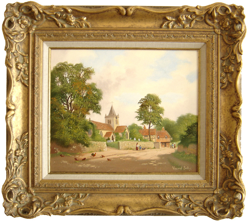 Vincent Selby, Original oil painting on panel, Village Scene, click to enlarge