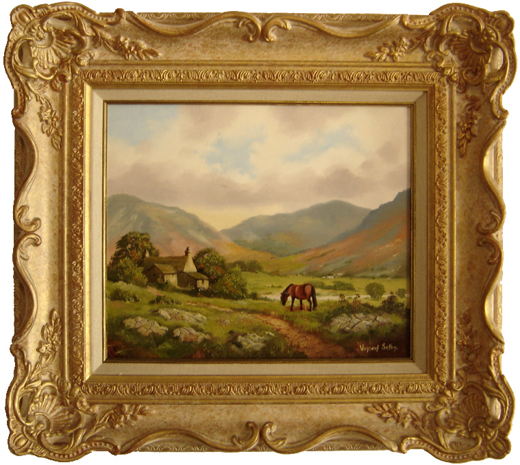 Vincent Selby, Original oil painting on panel, Country Scene and Horse, click to enlarge