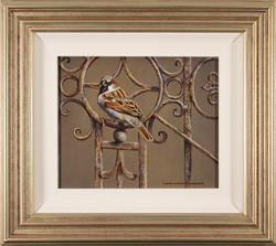 Wayne Westwood, Original oil painting on panel, Sparrow on a Gate