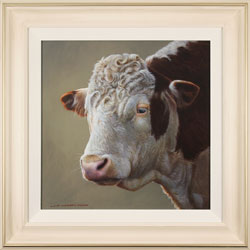 Wayne Westwood, Original oil painting on panel, Hereford Bull Large image. Click to enlarge
