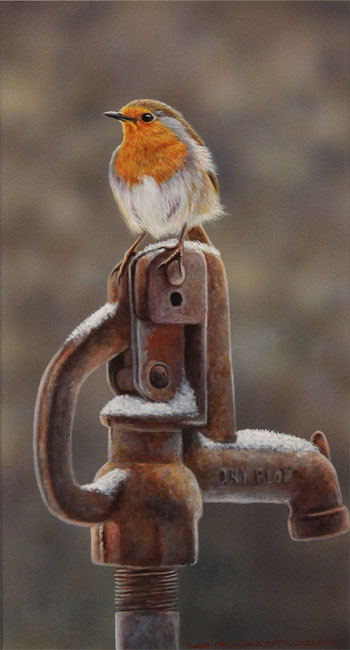 Wayne Westwood, Original oil painting on panel, Morning Visitor Without frame image. Click to enlarge