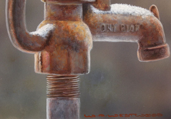Wayne Westwood, Original oil painting on panel, Morning Visitor Signature image. Click to enlarge