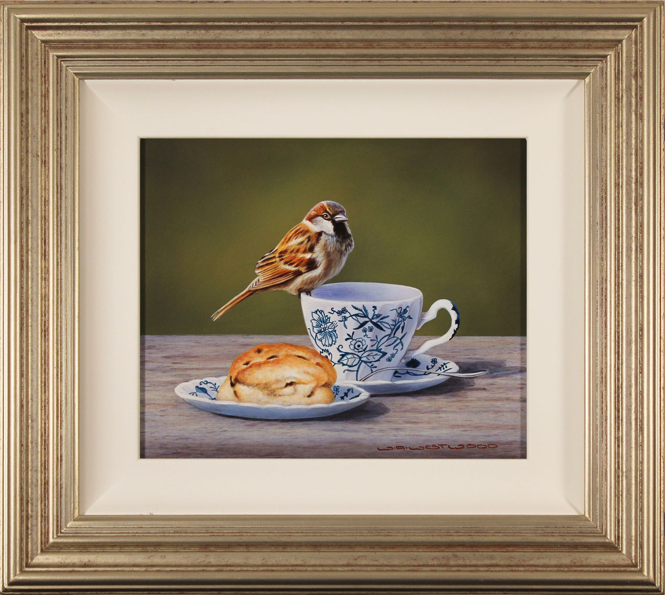 Wayne Westwood, Original oil painting on panel, Afternoon Tea, click to enlarge