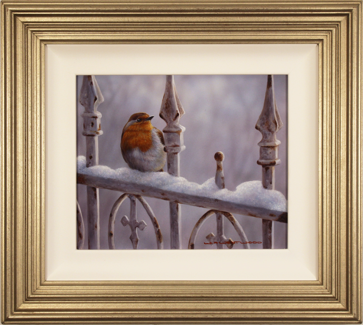 Wayne Westwood, Original oil painting on panel, Winter Robin, click to enlarge