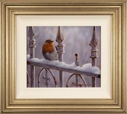 Wayne Westwood, Original oil painting on panel, Winter Robin Large image. Click to enlarge