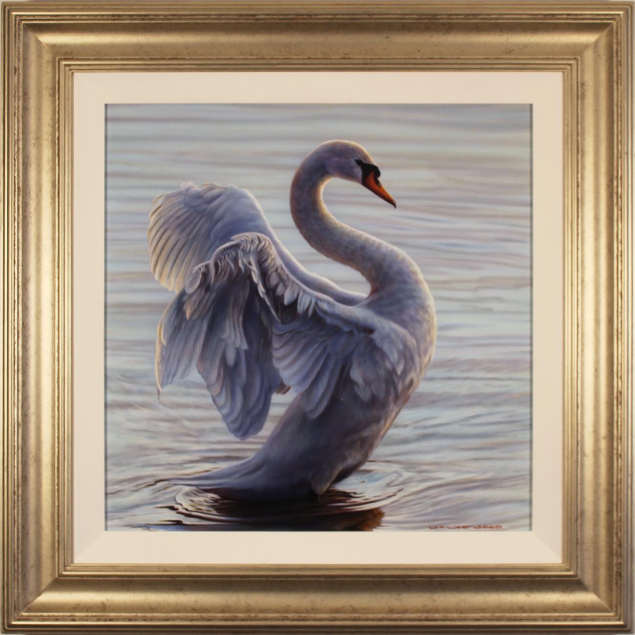 Wayne Westwood, Original oil painting on panel, White Swan, click to enlarge