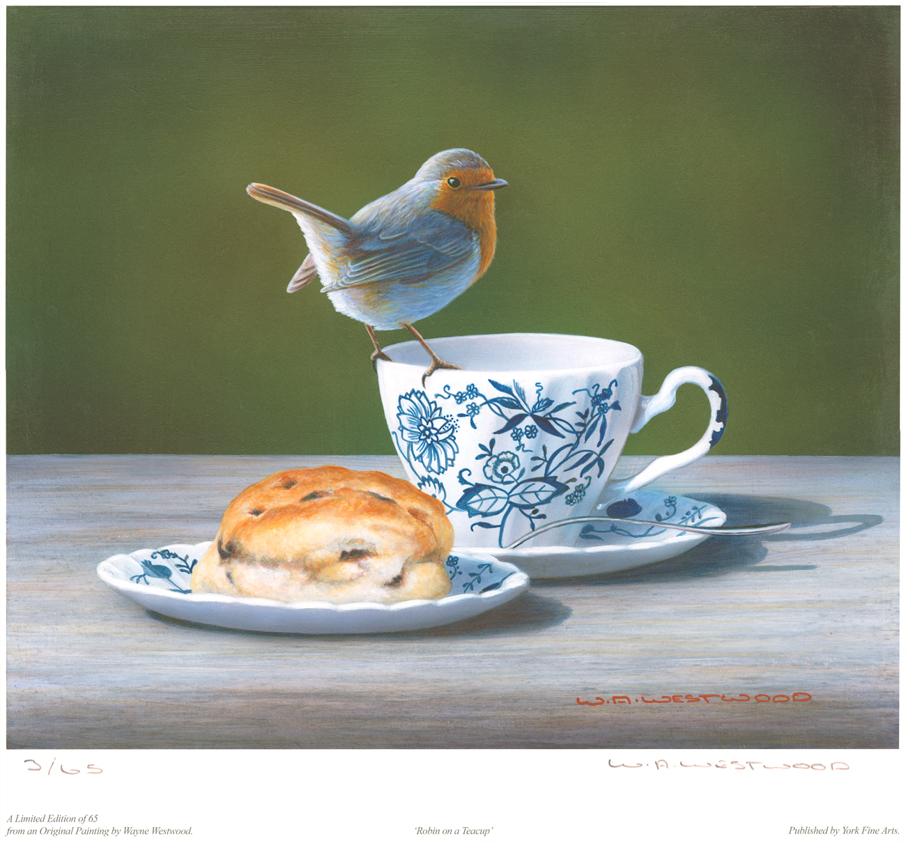 Wayne Westwood, Signed limited edition print, Robin on a Teacup. Click to enlarge