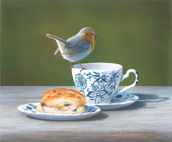 Wayne Westwood, Signed limited edition print, Robin on a Teacup Without frame image. Click to enlarge