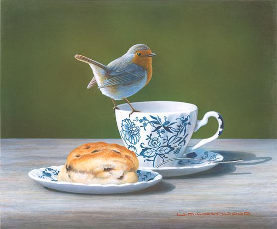 Wayne Westwood, Signed limited edition print, Robin on a Teacup No frame image. Click to enlarge