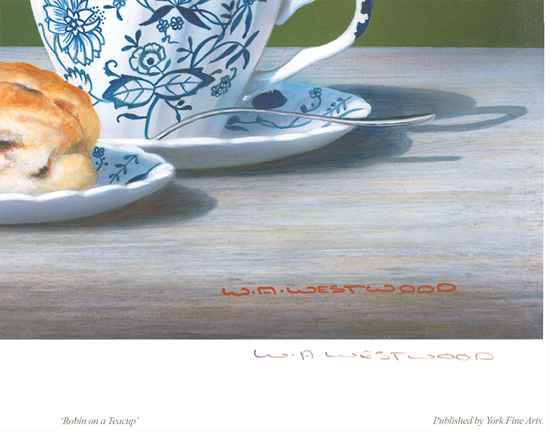Wayne Westwood, Signed limited edition print, Robin on a Teacup Signature image. Click to enlarge