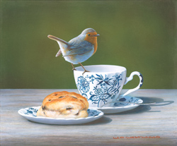 Wayne Westwood, Signed limited edition print, Robin on a Teacup Large image. Click to enlarge