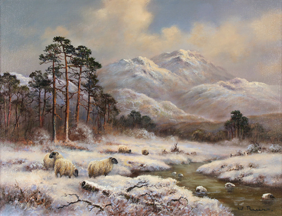 Wendy Reeves, Original oil painting on canvas, Winter in the Scottish Highlands Without frame image. Click to enlarge
