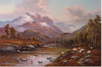 Wendy Reeves, Original oil painting on canvas, Scottish Highlands Without frame image. Click to enlarge