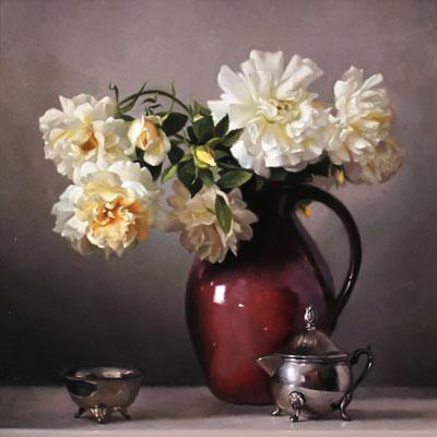 Caroline Richardson, Jug of Roses, Original oil painting on canvas