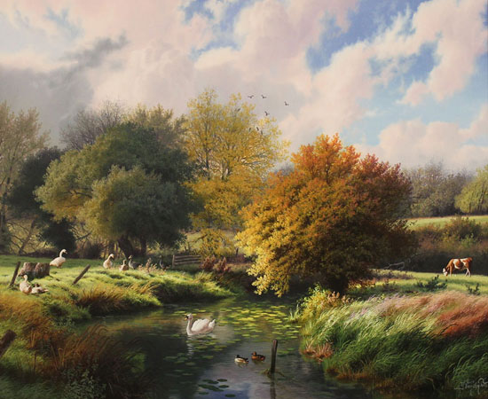 Daniel Van Der Putten, Autumn, River Dearne, Yorkshire, Original oil painting on panel