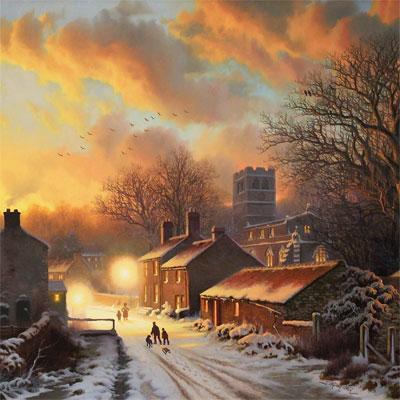 Daniel Van Der Putten, Sun Setting on Well, North Yorkshire, Original oil painting on panel