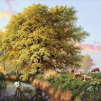Daniel Van Der Putten, Beside the River Swale, Yorkshire, Original oil painting on panel