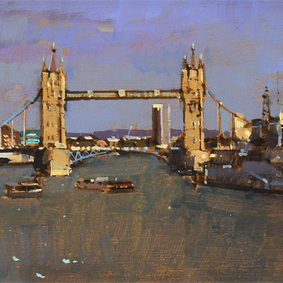 David Sawyer, RBA, Tower Bridge and HMS Belfast, Original oil painting on panel
