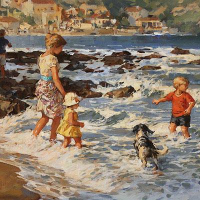 Dianne Flynn, Beside the Seaside, Original acrylic painting on canvas