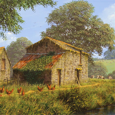 Edward Hersey, Waterside Farm, Original oil painting on canvas