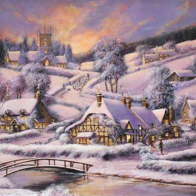 Gordon Lees, A Winter's Eve, Original oil painting on panel