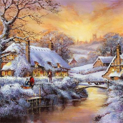 Gordon Lees, Freshly Fallen Snow, The Cotswolds, Original oil painting on panel