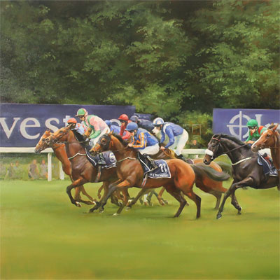 Jacqueline Stanhope, Epsom Derby Start, 2016, Original oil painting on canvas