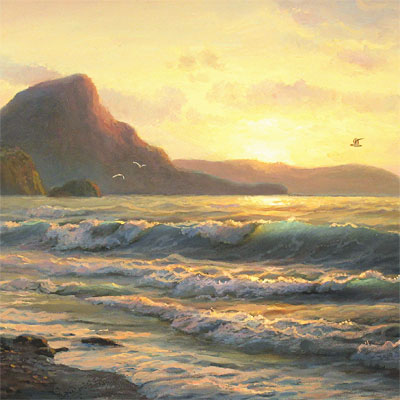 Juriy Ohremovich, Evening Tides, Original oil painting on canvas