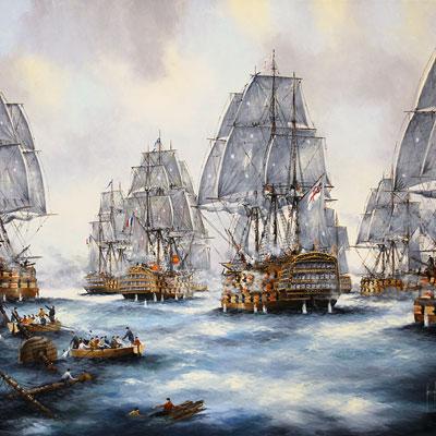Ken Hammond, Battle of Trafalgar, Original oil painting on canvas
