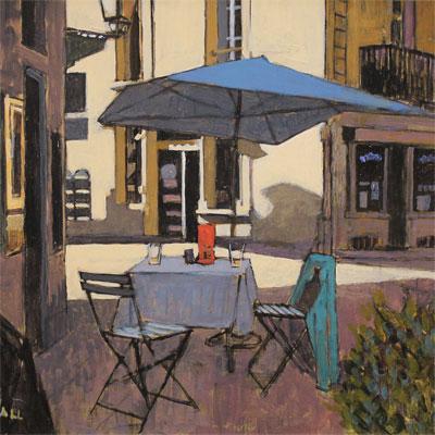 Mike Hall, Café Table, Original acrylic painting on board