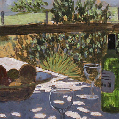 Mike Hall, Glass of Wine by the River, Original acrylic painting on board