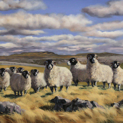 Natalie Stutely, Flock to Penyghent, Original oil painting on panel