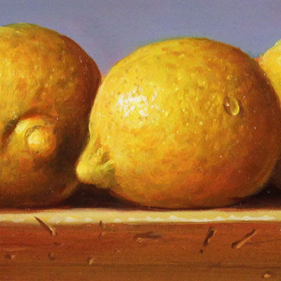 Raymond Campbell, Lemons, Original oil painting on panel