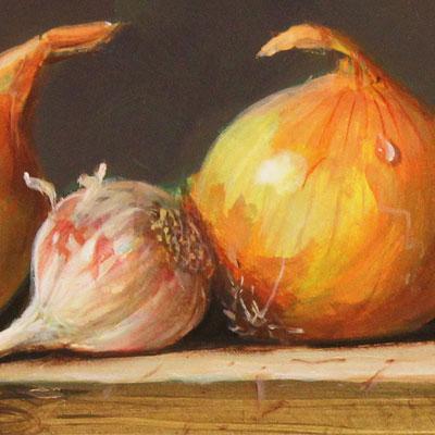 Raymond Campbell, Onions, Original oil painting on panel