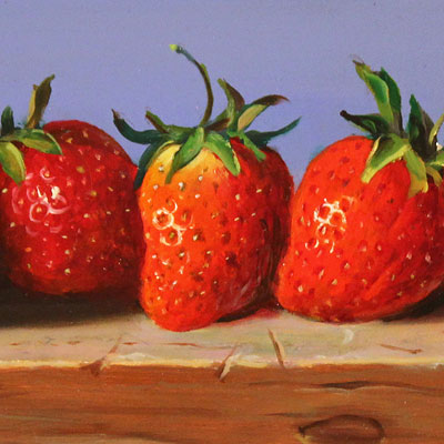 Raymond Campbell, Strawberries, Original oil painting on panel