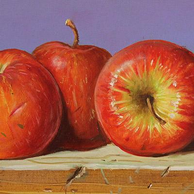 Raymond Campbell, Apples, Original oil painting on panel